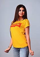 Женская футболка летняя качество реплика копия Levis турция 100% желтая