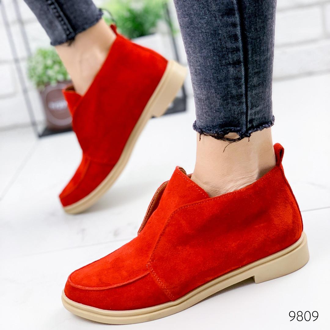 Туфли женские красные натуральная замша низкий каблук 38