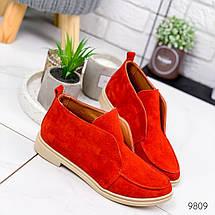 Туфли женские красные натуральная замша низкий каблук 38, фото 3