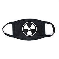 """Хлопковая противопыльная маска черная с белым логотипом """"Знак радиации"""""""