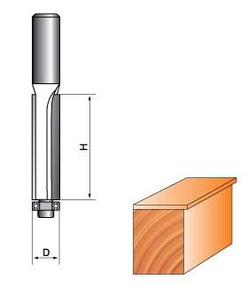 Фреза ГЛОБУС кромочна пряма з нижнім підшипником. Серія 1020.    D8 h20 d6
