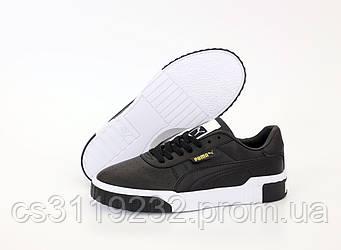 Женские кроссовки Puma Cali Black Leather (черные)