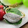 Кольцо Xuping с родированием 14302 размер 18 ширина 11 мм вес 2.2 г белые фианиты позолота 18К, фото 3