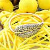 Кольцо Xuping с родированием 14302 размер 18 ширина 11 мм вес 2.2 г белые фианиты позолота 18К, фото 4