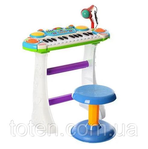 Детское пианино-синтезатор 7235 на ножках со стульчиком и микрофоном. Синий