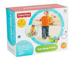 "Игрушка каталка на веревке ""Учена черепашка"" Fisher-Price, фото 3"