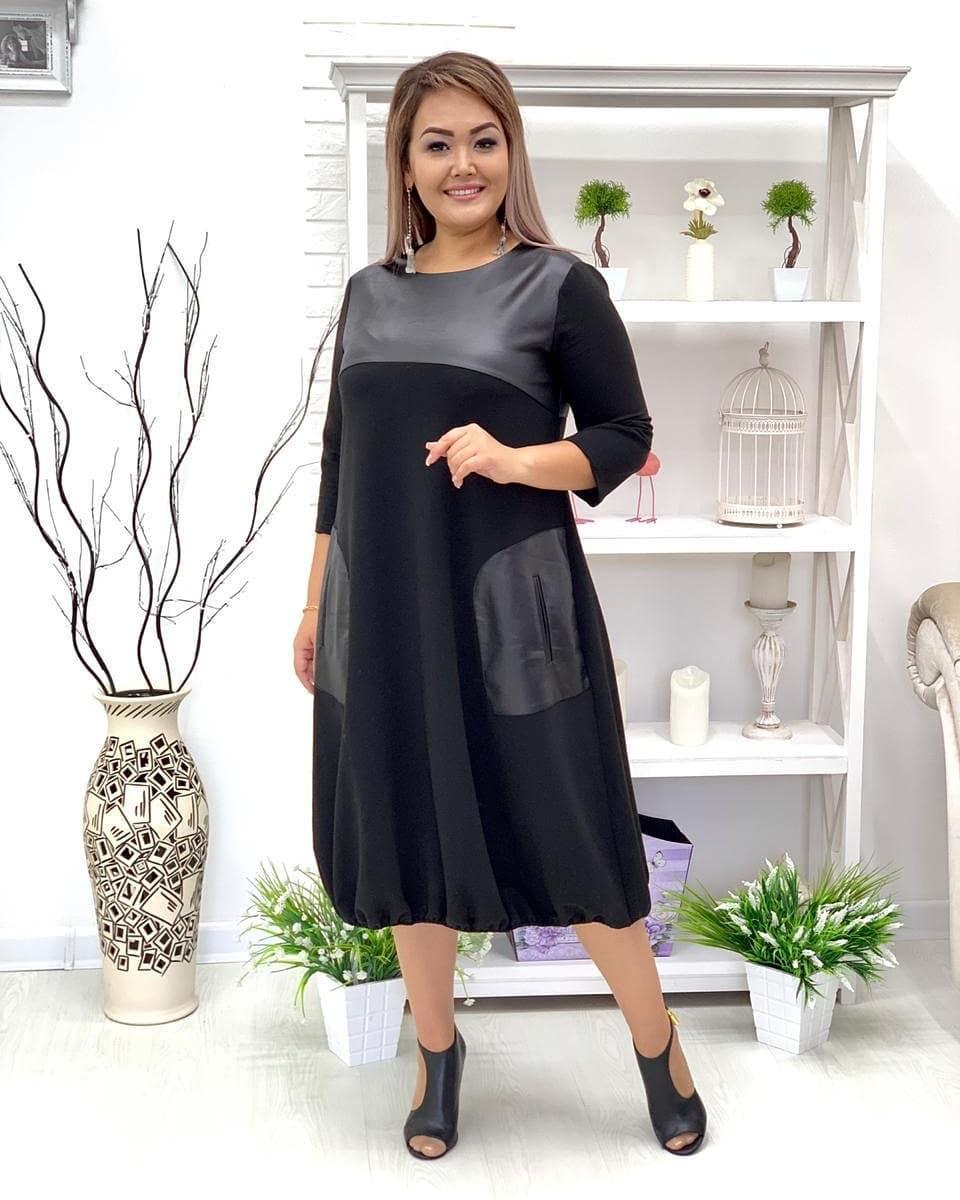 Свободное платье для полных с кожаными вставками