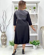 Свободное платье для полных с кожаными вставками, фото 2