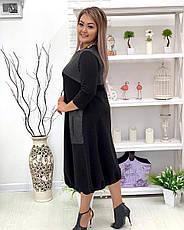 Свободное платье для полных с кожаными вставками, фото 3