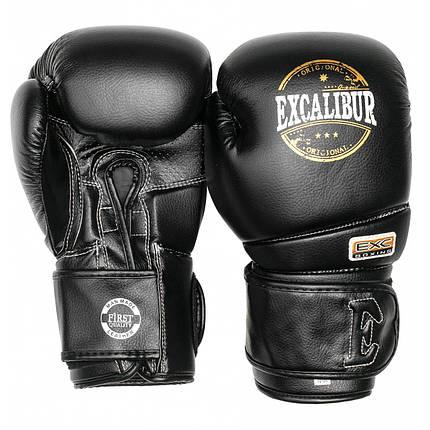 Перчатки боксерские Excalibur 8000-01 Platinum (14 oz) черный, фото 2
