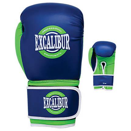 Перчатки боксерские Excalibur 8027-03 Typhon (10 oz) синий/зеленый/белый, фото 2