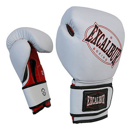 Перчатки боксерские Excalibur 536-01 Ring Star (10 oz) белый/красный/черный, фото 2