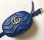 Женская сумка на пояс в стиле Gucci + цепочка на плечо Женская кожаная поясная сумка