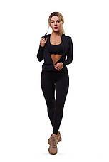 Спортивная женская кофта  черная для фитнеса бега, фото 3