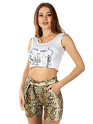 Женские шорты из кожзама с поясом
