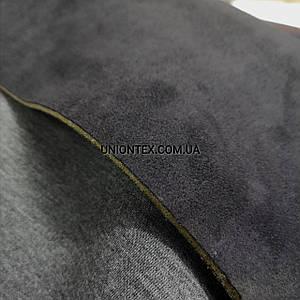 Трикотаж неопрен на замше двусторонний черный с серым