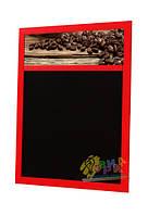Меловая доска меню в красной раме Кофе-меню