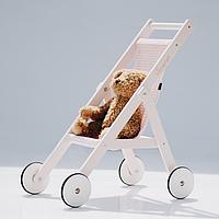 """Деревянная детская колясочка """"STROLLER"""" для кукол по методике Марии Монтессори розовая"""