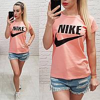 Женская футболка летняя реплика Nike Турция 100% катон персиковая, фото 1