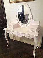 Туалетный столик / Трюмо с зеркалом белый МДФ 5 ящиков (147х110х45 см)
