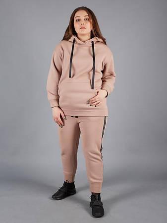 Теплый женский костюм для полных бежевый, фото 2