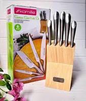 Набор ножей кухонных из нержавеющей стали с подставкой 6 предметов Kamille 5130