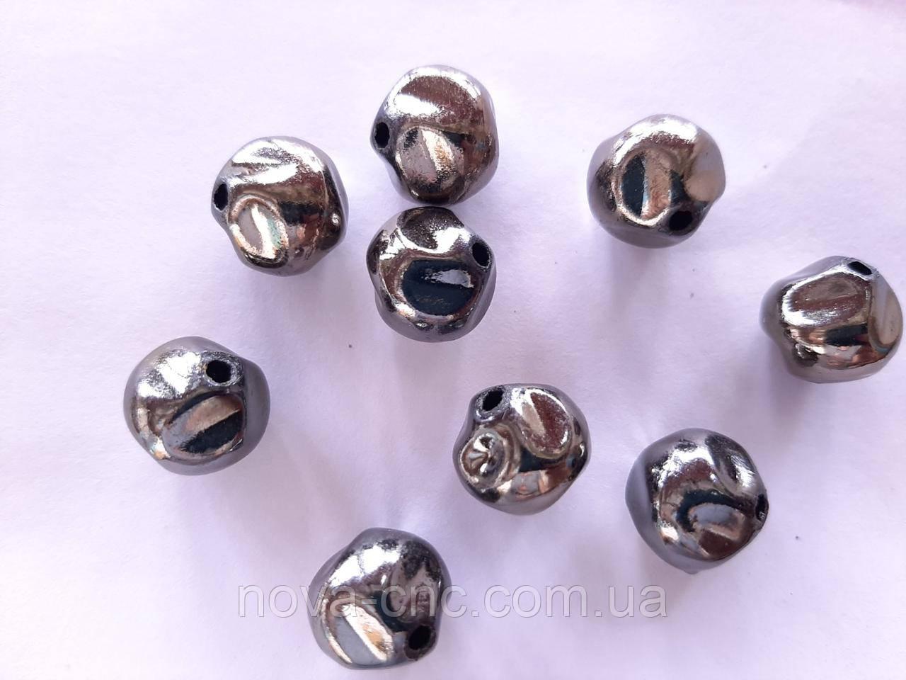 """Намистини пластик """"Камінчики"""" 13 мм сірий металік 500 грам"""