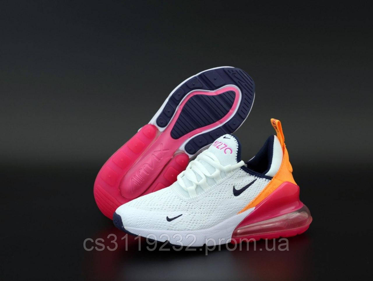 Женские кроссовки Nike Air Max 270 White Orange Pink (белые)