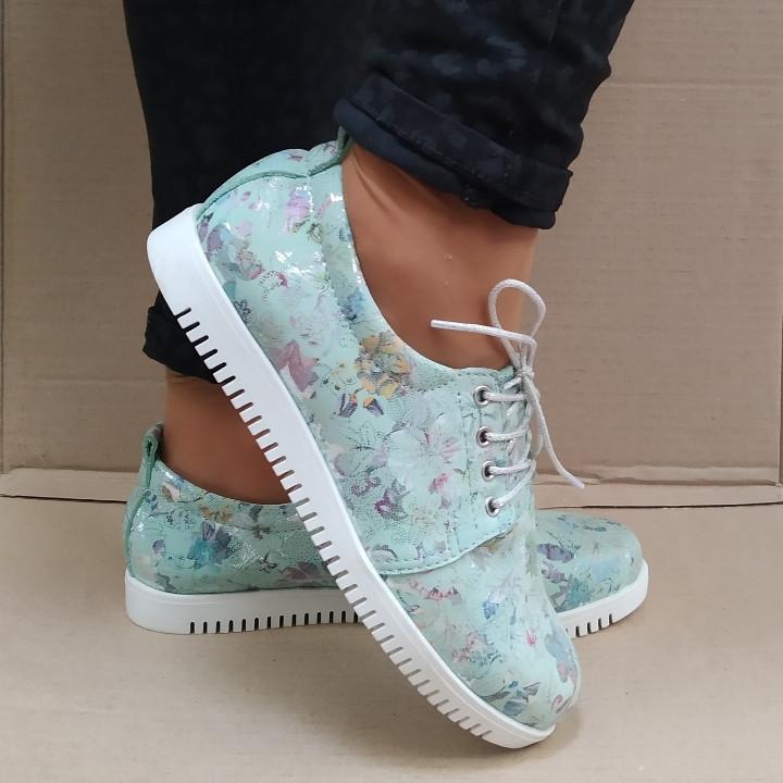 Слипоны туфли женские на шнурках кожаные бирюзовые