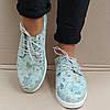 Слипоны туфли женские на шнурках кожаные бирюзовые, фото 7