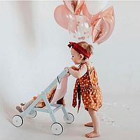 """Деревянная детская колясочка """"STROLLER"""" для кукол по методике Марии Монтессори голубая"""