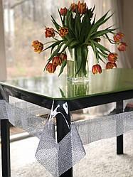 Скатерть прозрачная силиконовая с серебряной каемкой