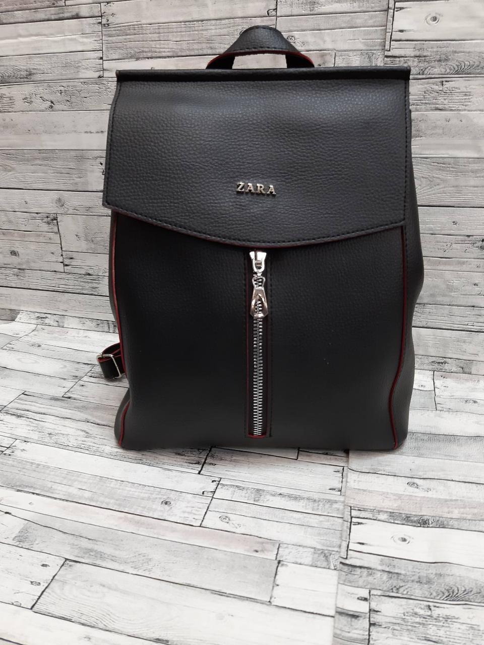 Женский рюкзак сумка с клапаном кожзам Зара Zara. Черный с красным.
