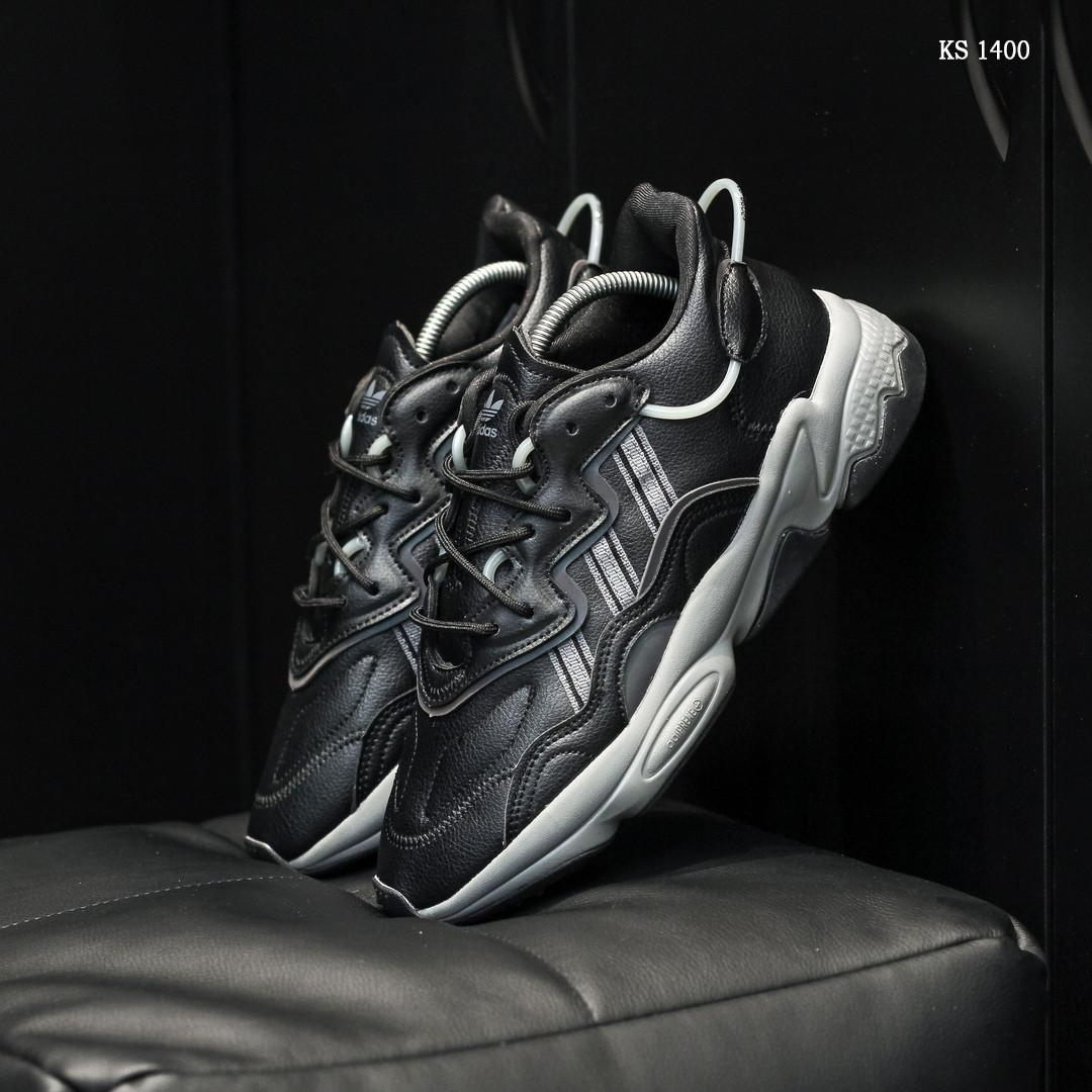 Мужские весенние кожанные кроссовки черные Adidas OZWEEGO