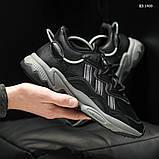 Мужские весенние кожанные кроссовки черные Adidas OZWEEGO, фото 2