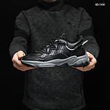 Мужские весенние кожанные кроссовки черные Adidas OZWEEGO, фото 4