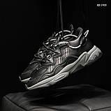Мужские весенние кожанные кроссовки черные Adidas OZWEEGO, фото 5