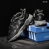 Мужские весенние кожанные кроссовки черные Adidas OZWEEGO, фото 6