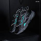 Мужские весенние кожанные кроссовки черные Adidas OZWEEGO, фото 7