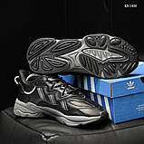 Мужские весенние кожанные кроссовки черные Adidas OZWEEGO, фото 8