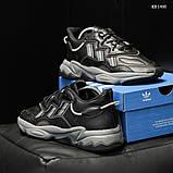 Мужские весенние кожанные кроссовки черные Adidas OZWEEGO, фото 9
