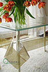 Скатерть прозрачная с золотой каемкой, мягкое стекло с золотым стразовым полотном