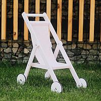 """Деревянная детская колясочка """"STROLLER"""" для кукол по методике Марии Монтессори белая"""