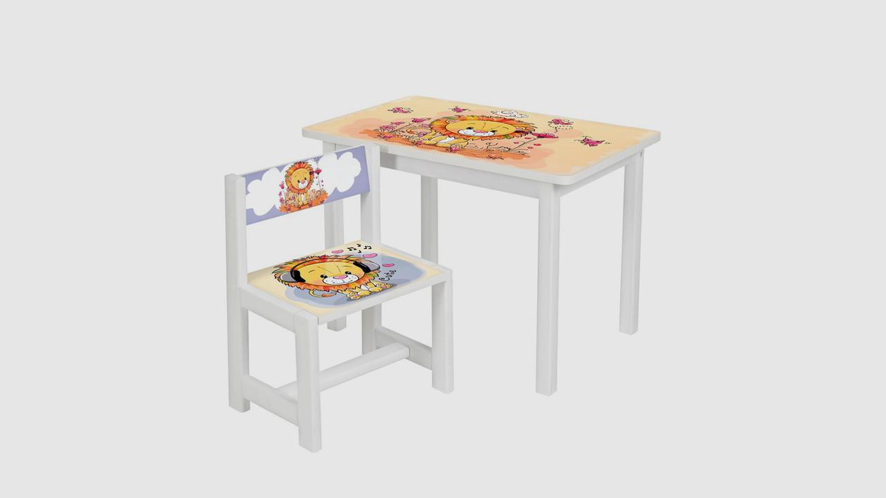 Стол и стульчик BSM1-03. Принт львенок