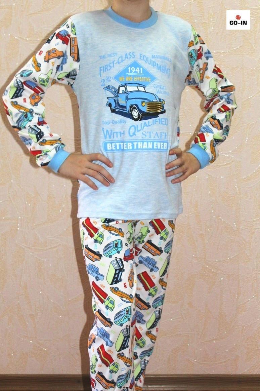 Пижама детская летняя интерлок для мальчика с машинкой 28-38р.