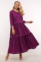 Платье с широкими оборками БЕЛЛ сиреневое