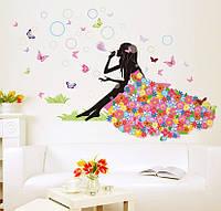 """3D интерьерные виниловые наклейки на стены """"Фея с бабочками и пузырями"""" 90-60 см в детскую. Декор"""