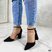 Открытые черные туфли на каблуке с ремешком, эко-замш 37-40р