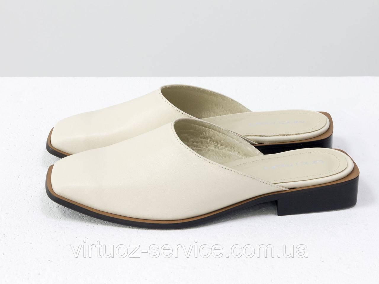 Мюли дизайнерские Gino Figini С-2007-02из натуральной кожи 38 Молочный
