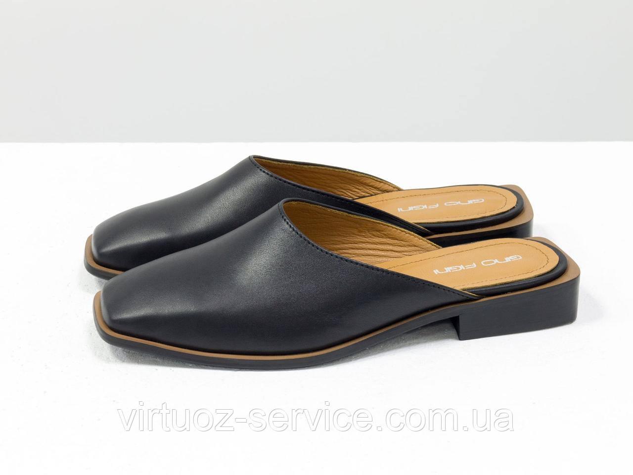 Мюли дизайнерские Gino Figini С-2007-01 из натуральной кожи 38 Черный